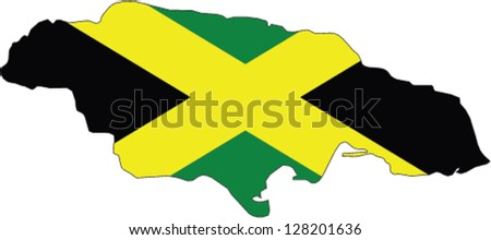 Country shape outlined and filled with the flag of Jamaica - stock vector