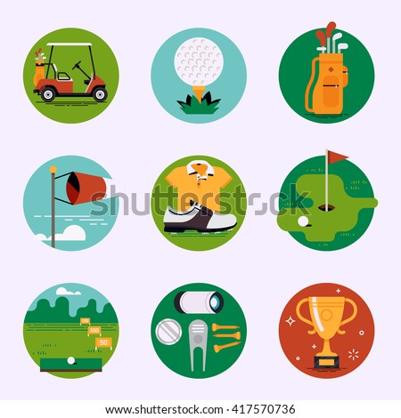 Country sport club recreation vector web icons set. Golf course resort items, accessories. Golf cart, ball, bag, weather condition, clothes, championship, driving range, tees, divot tool and more
