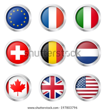 Country - Sticker: Europe, France, Italy, ... - stock vector