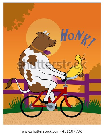 Country Summer / A cow rides a bicycle - stock vector