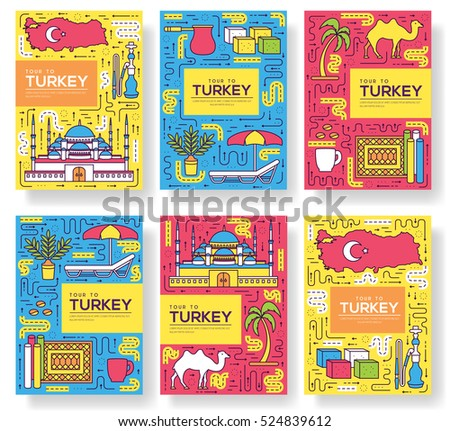 Country turkey vector brochure cards thin stock vector for Country brochure template