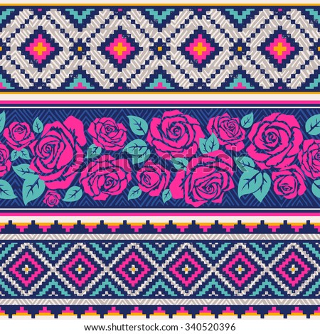 country vector seamless pattern with roses. ethnic abstract geometric art print. Wallpaper, cloth design, fabric, paper, wrapping, textile  design template. Hand drawn. - stock vector
