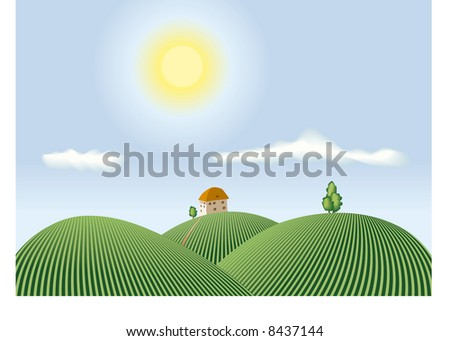 country view - stock vector