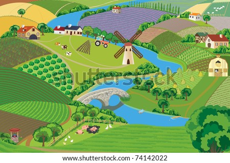 Countryside - stock vector