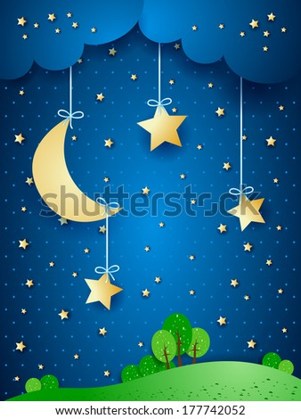 Countryside, fantasy illustration at night. Vector - stock vector