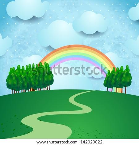 Countryside, fantasy illustration. Vector - stock vector