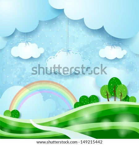 Countryside, fantasy illustration. Vector - stock vector