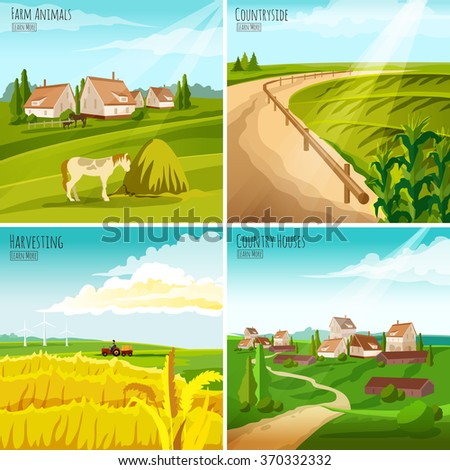 Countryside 4 flat pictograms composition for interactive webpage with crops harvesting and farmhouses set abstract isolated vector illustration - stock vector