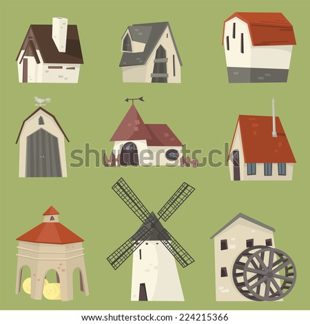 Countryside houses rural granary storehouse shelter cabin farm icon collection. - stock vector