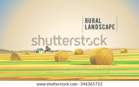 Countryside landscape with hay, field and village.