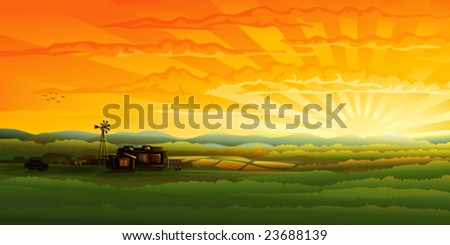 Countryside panorama in the evening (.JPG version id 44515189, other landscapes are in my gallery) - stock vector