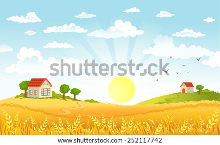 Countryside panorama in the morning - stock vector
