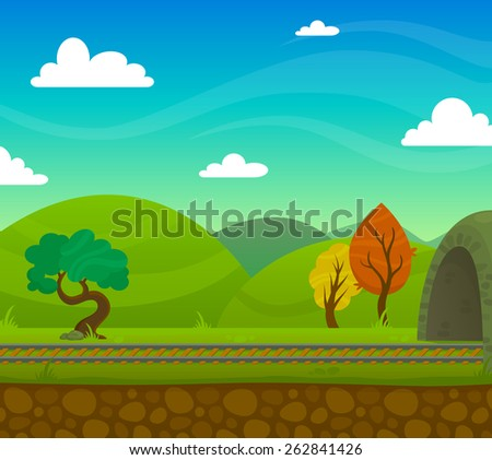 Countryside railway landscape with roadway and hills on background flat vector illustration - stock vector