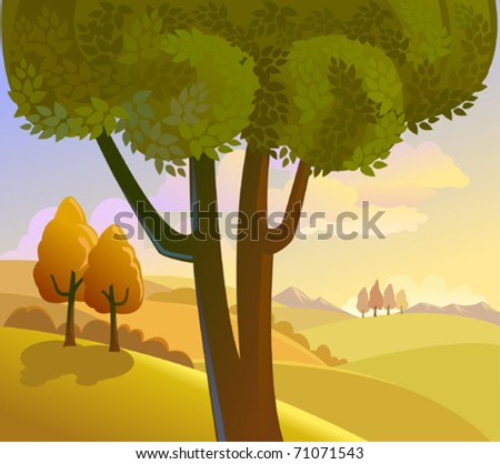 Countryside retro landscape - stock vector