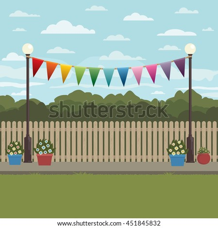 countryside scene with bunting, fence and flower pots