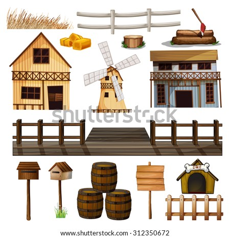 Countryside style of buildings and other objects illustration - stock vector