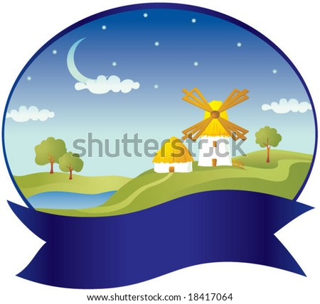 Countryside with windmill - stock vector