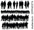 couple and big group of people vector silhouette on a white background - stock photo