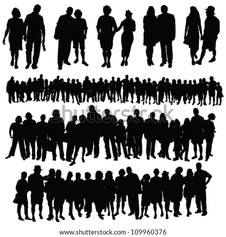 couple and big group of people vector silhouette on a white background - stock vector