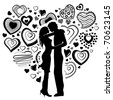 Couple and big heart made of small ones - stock vector