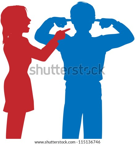 Couple argue fight woman point finger man covers ears to not listen - stock vector