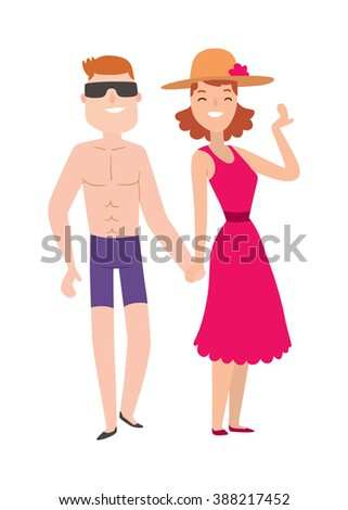 Couple beach man and woman cartoon illustration. Beach couple walking. Young happy lovers couple in the beach, man holding hands embracing outdoors. Happy couplei n the  beach together. Romantic couple beach. - stock vector