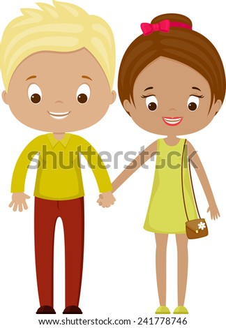 Couple: boy and girl. Vector illustration. Isolated over white