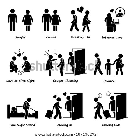Couple Boyfriend Girlfriend Love Stick Figure Pictogram Icon Cliparts - stock vector