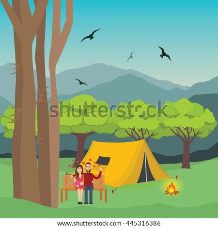 couple camping in forest man and woman with fire in front of the tent and mountain trees at the background - stock vector