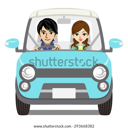 Couple Car Driving, front view - stock vector