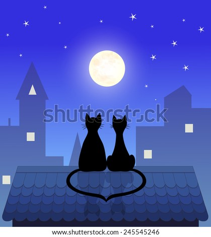 couple cats sitting on roof and looking to moon, vector illustration - stock vector