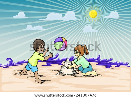 couple children playing on the beach, with cloud and sun over the sea splash - stock vector