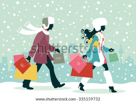 Couple Christmas shopping - Man and woman with shopping bags in the snowy city - stock vector