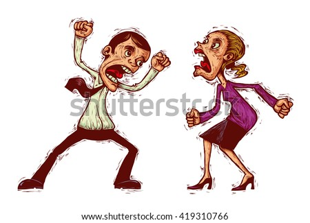 couple conflict, man and woman shouting at each other - stock vector