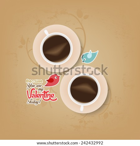 couple cup of coffee with valentines day - stock vector