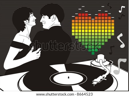 couple dance in love. card for valentine's day - stock vector