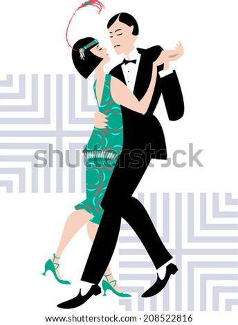 Couple dancing. Art deco. Retro. Vector illustration.  - stock vector