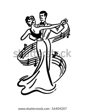 Couple Dancing 2 - Retro Clip Art