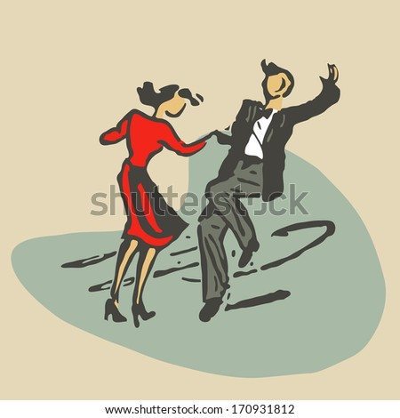 couple dancing rock'n'roll retro stile stock vector