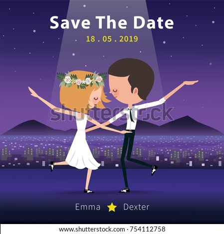 Couple dancing save date invitation card stock vector 754112758 couple dancing save the date invitation card romantic dance in the moonnight stopboris Images