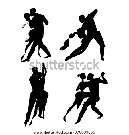 Couple dancing tango, set of vector illustrations