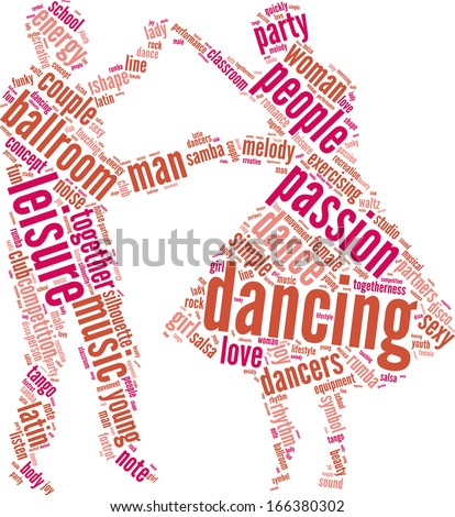couple dancing vector tag cloud illustration - stock vector