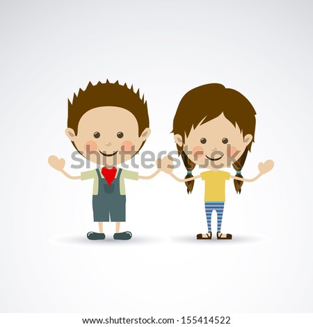 couple design over gray background vector illustration - stock vector