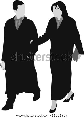 Couple dressed up for diner, walking; silhouette; vector illustration