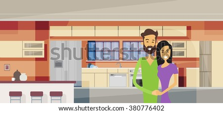 Couple Embracing In Modern Kitchen Interior Vector Illustration - stock vector