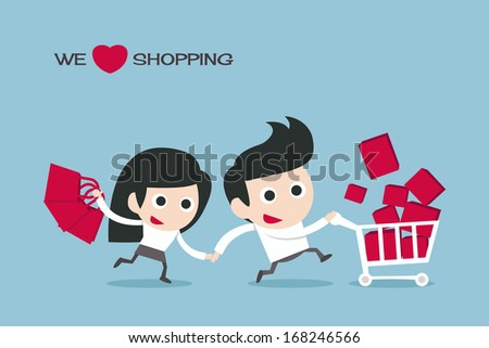 couple enjoy shopping, vector - stock vector