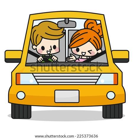 Couple Family Drive - stock vector