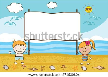couple happy Children banner beach - stock vector