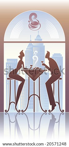 Couple have a dinner in the city restaurant. - stock vector