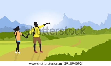 Couple Hiking Man Woman Silhouette Traveler Mountain Road Path Point Hand Green Valley Nature Background Vector Illustration - stock vector